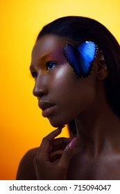 Young beautiful afro girl, with blue butterfly, beauty portrait on yellow background