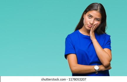 Young beautiful arab woman over isolated background thinking looking tired and bored with depression problems with crossed arms.