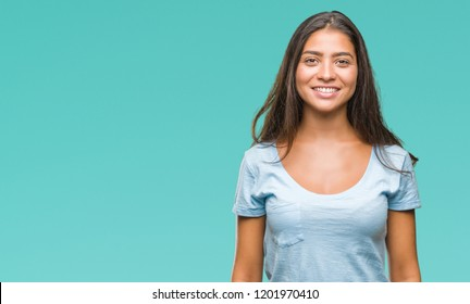 Young beautiful arab woman over isolated background with a happy and cool smile on face. Lucky person.