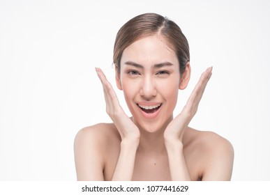Young beautiful asia woman touching her face isolated on white background concept skincare cosmetic