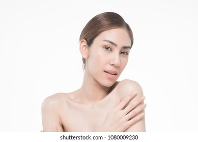 Young beautiful asia woman touching her body isolated on white background concept skincare cosmetic