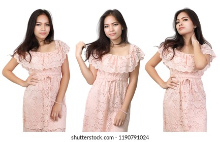young beautiful asian woman and her fashion in three action on white background