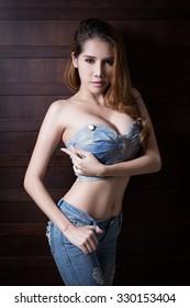 Young beautiful asian woman model