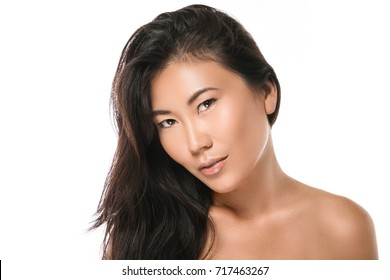 Young and beautiful Asian woman with natural black hair