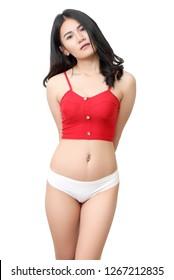 young beautiful asian woman in red shirt and white bikini