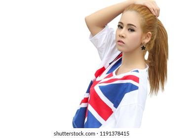 young beautiful asian woman with sport fashion in studio
