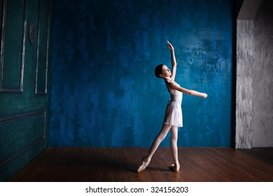 The young and beautiful ballerina is posing in the studio