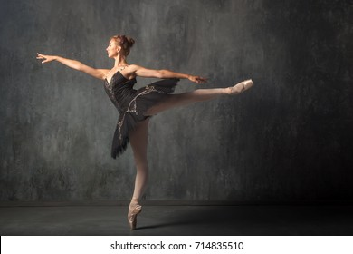 A young beautiful ballerina in a scenic tutu, white pantyhose and pointe shoes beautifully poses and dances the ballet in the form of a dark swan in a dark dance stage