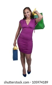 Young beautiful black African American woman on a shopping spree