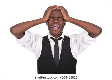 young and beautiful black man screaming with headache