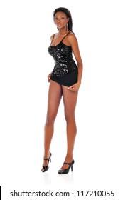 Young Beautiful black woman wearing a short dark dress