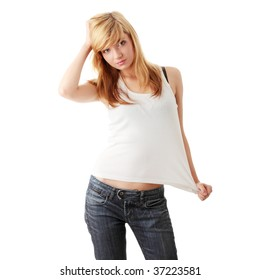 Young beautiful blond teen girl isolated on white