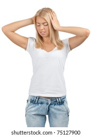 Young beautiful blond woman having a headache, against white background