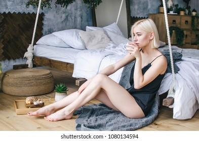 Blonde amateur mature on bed