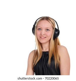 young beautiful blonde girl in the headphones