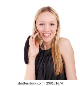 young beautiful blonde girl speaking a mobile phone