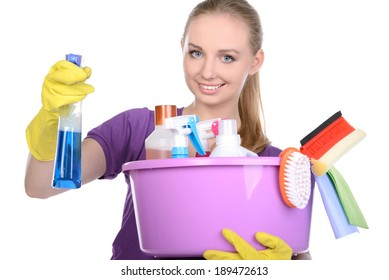 Young beautiful blonde housewife cleaning isolated on white background