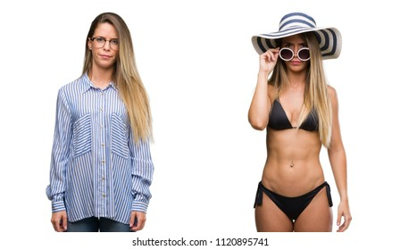 Young beautiful blonde woman wearing business and bikini outfits skeptic and nervous, frowning upset because of problem. Negative person.