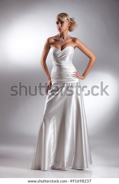 Young Beautiful Blonde Woman Wedding Dress Stock Photo Edit