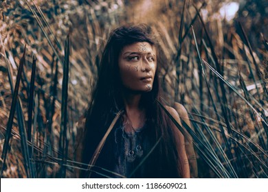 young beautiful boho woman portarait with traditional ornament