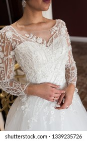 Young beautiful bride in antique interior