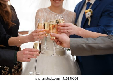 young and beautiful bride and groom clink glasses with the guests