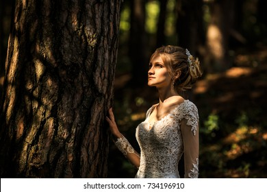 Young beautiful bride in white dress is posing on a wedding walk in the deep dark forest. Wedding day.