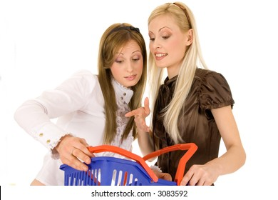 Young beautiful brunette & blond girl going shopping isolated on white background