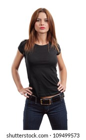 Young beautiful brunette female with blank black shirt. Ready for your design or artwork.