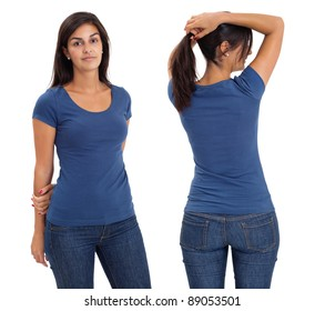 Young beautiful brunette female with blank blue shirt, front and back. Ready for your design or artwork.