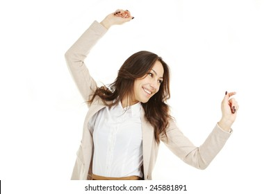 Young beautiful brunette woman on white background