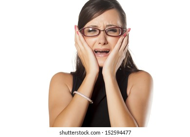 young beautiful business woman crying because of toothache