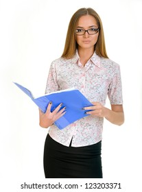 Young beautiful business woman holding files