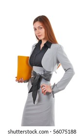 Young and beautiful business woman in light gray suit portrait