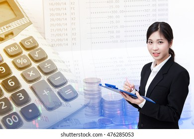 Young beautiful business woman on finance concept background. Saving account passbook, Book bank statement.