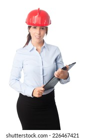 Young beautiful business woman over white background. Looking confident wearing a red helmet and holding a black folder