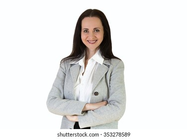 Young beautiful business woman portrait. Crossed arms