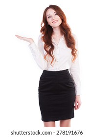 Young and beautiful business woman presenting a copyspace. Isolated on white background.