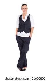 young beautiful businesswoman full length studio portrait
