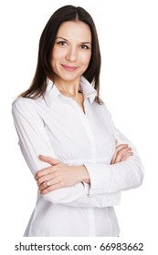 Young beautiful businesswoman over white background
