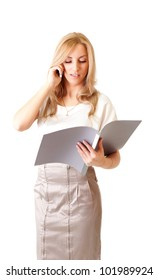 Young beautiful businesswoman talking on mobile phone