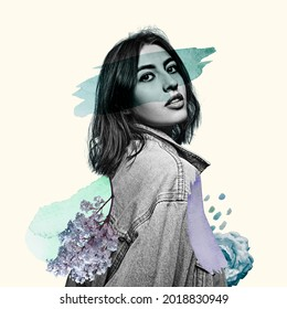 Young beautiful bw woman in denim clothes surrounded by flowers. Smear of green paint on eyes. Contemporary art collage. Surrealism, minimalism in artwork. Inspiration, creativity and fashion concept