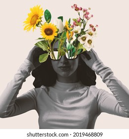 Young beautiful bw woman with different flowers growing from her sunglasses. Surrealism, minimalism in artwork. Inspiration, creativity and fashion concept
