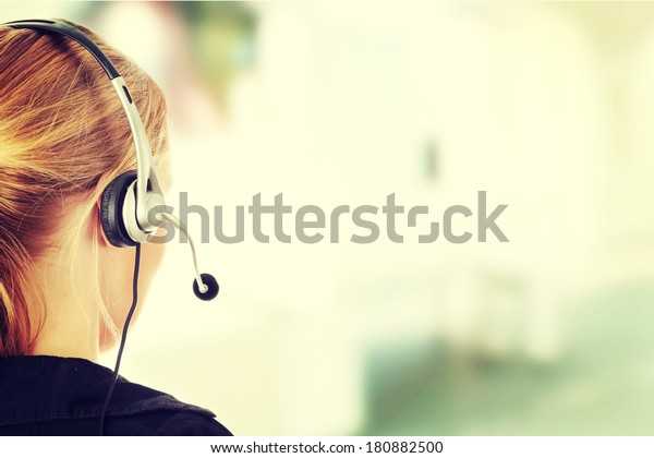 Young beautiful call center worker