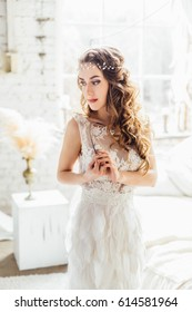 Young beautiful Caucasian bride in boho style. Bride fees.