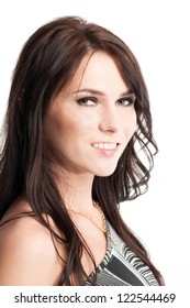 Young beautiful caucasian woman posing over white background