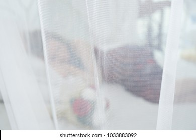 Young beautiful caucasian woman sleepping with bouquet of red and white roses on bed inside of mosquito net