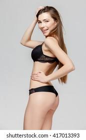 young beautiful caucasian woman wearing black lingerie