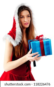 young beautiful Christmas woman with present, Focus on gift