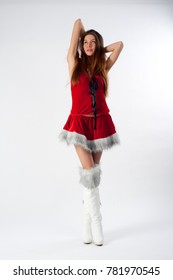 young beautiful Christmas woman at white background